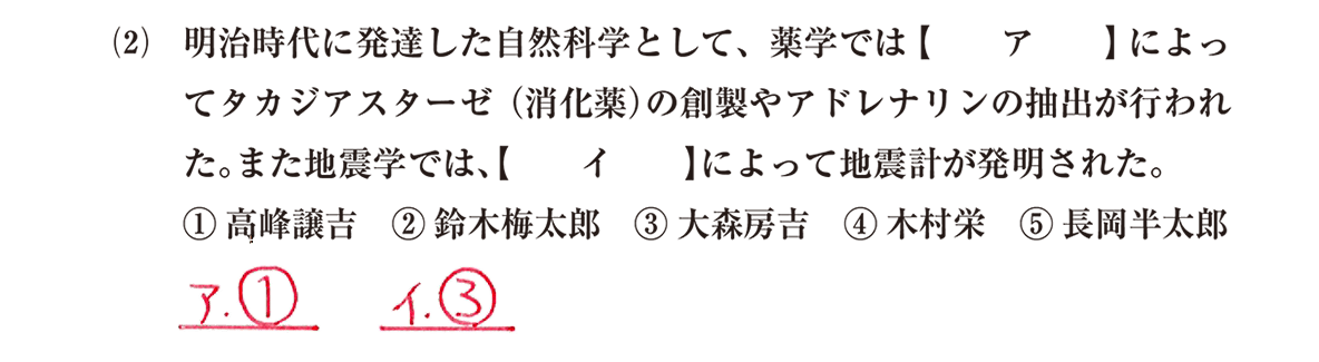 近現代の文化12 問題1(2) 解答