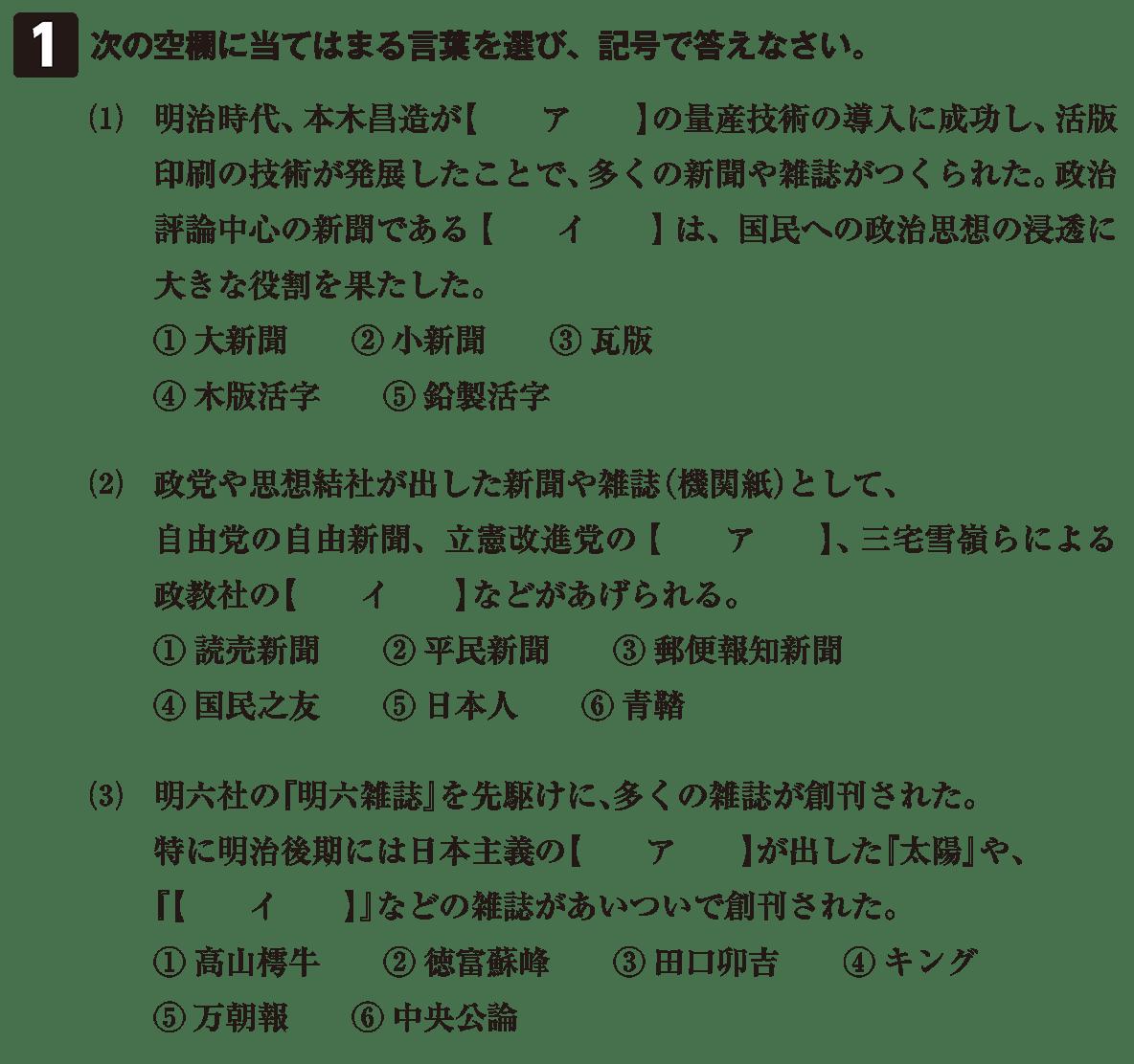 近現代の文化15 問題1 問題