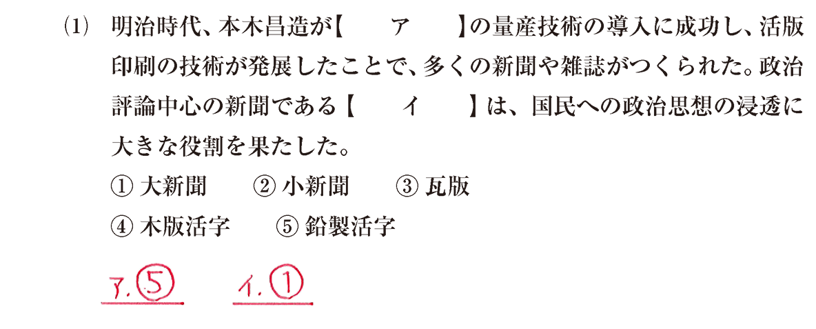 近現代の文化15 問題1(1) 解答