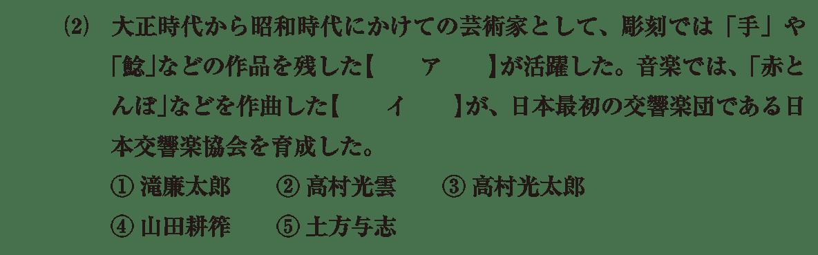 近現代の文化33 問題1(2) 問題