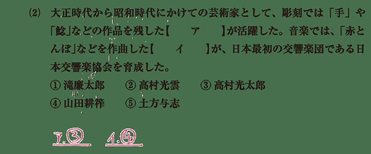 近現代の文化33 問題1(2) 解答