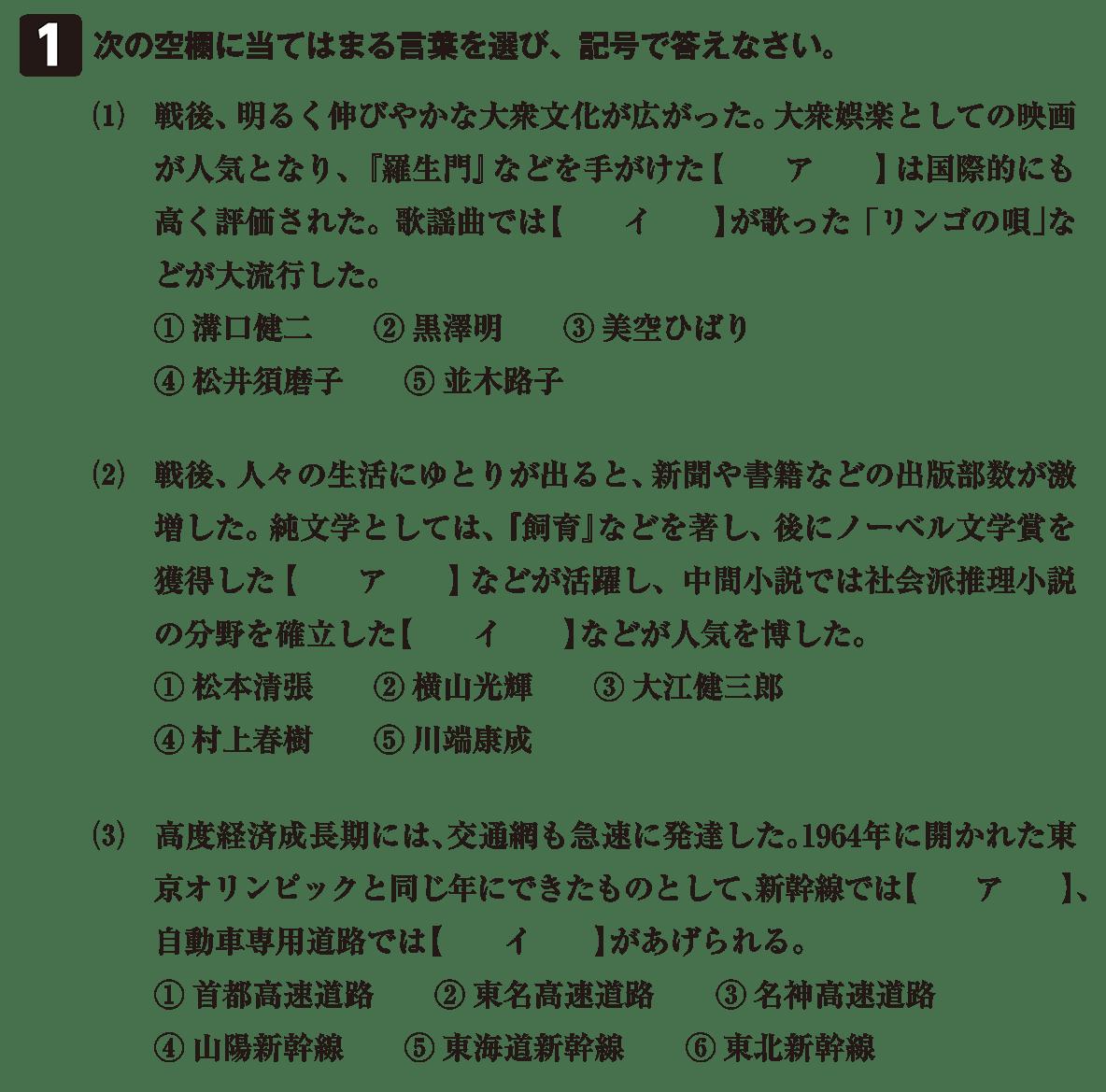 近現代の文化36 問題1 問題