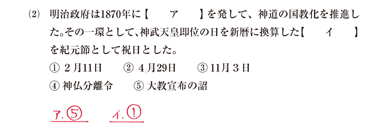 近現代の文化3 問題1(2) 解答