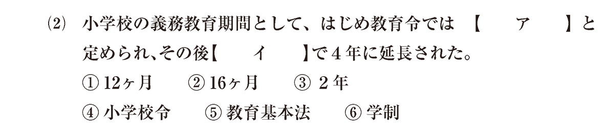 近現代の文化9 問題1(2) 問題
