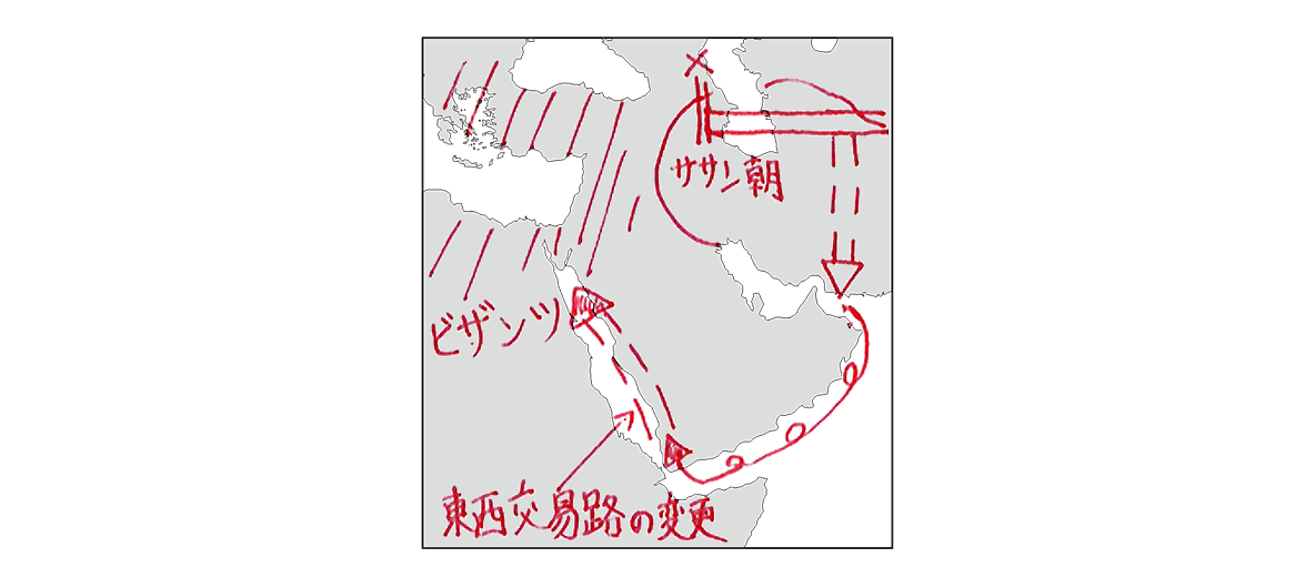 高校世界史 イスラーム世界1 ポ1 アラビア半島地図/書き込みあり