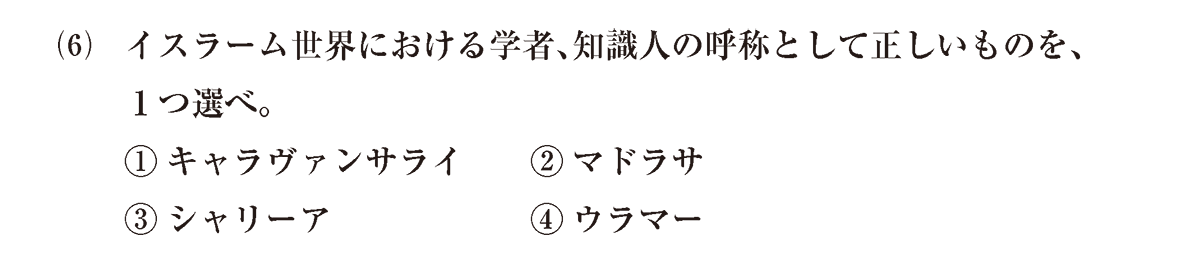 高校世界史 イスラーム世界8 問題2(6)