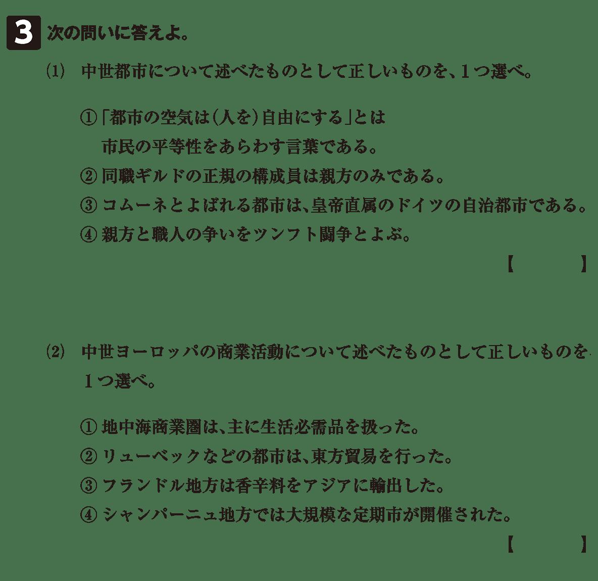 高校世界史 中世ヨーロッパ世界の展開7 確認テスト(後半)問題3