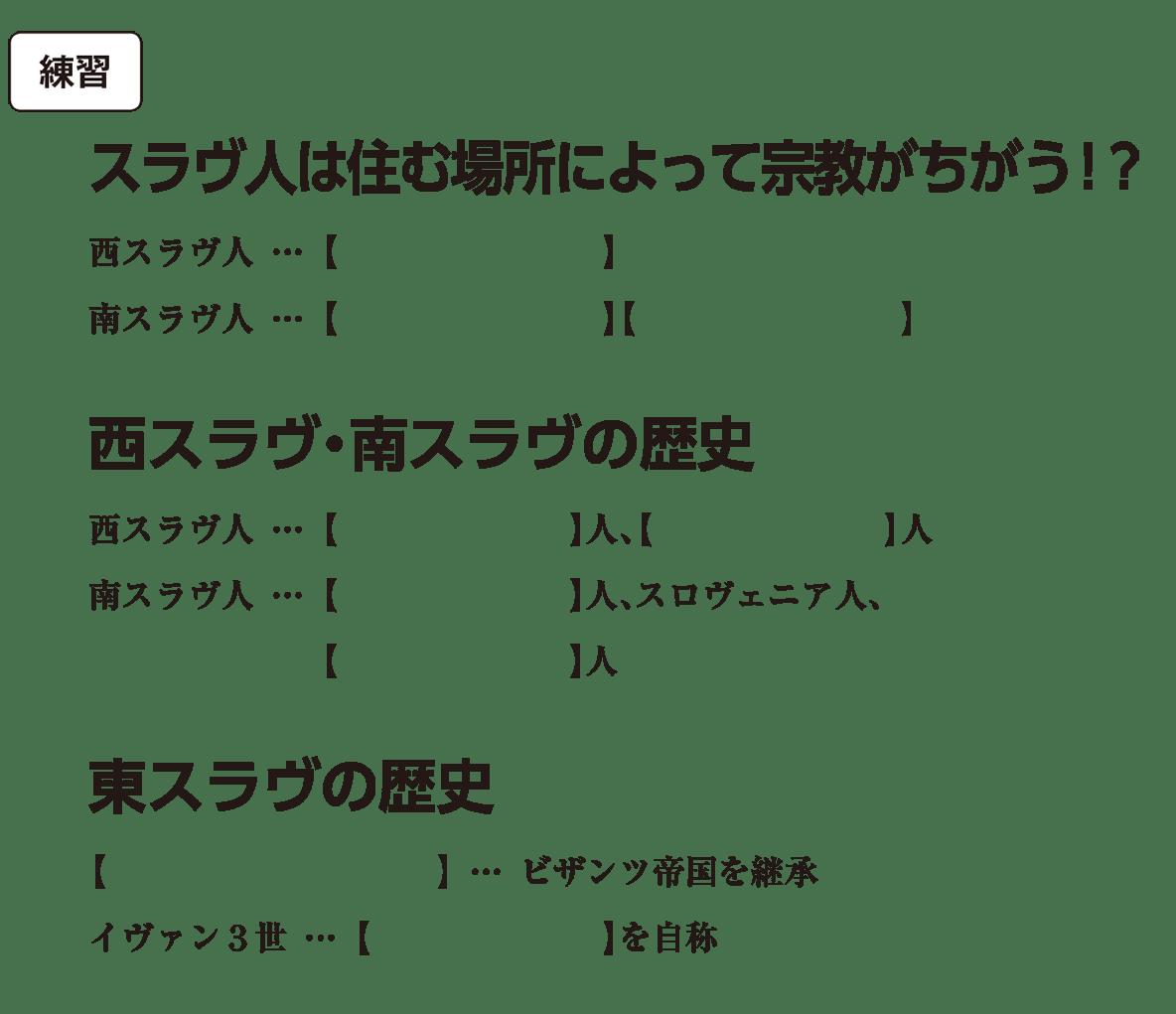 高校世界史 中世ヨーロッパ世界の各国史5 練習 括弧空欄