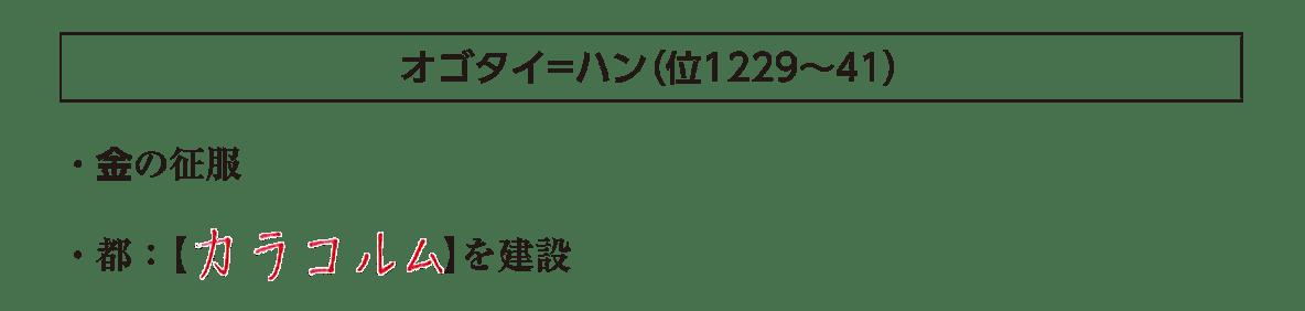 ポ2「オゴタイ=ハン」の見出し+下部テキスト2行/~カラコルムを形成、まで
