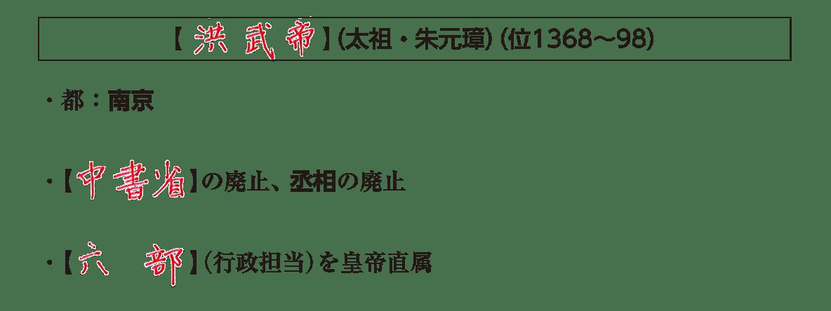 ポ1「洪武帝」の小見出し+テキスト3行/・都:南京~六部の説明まで/右側のイラストは不要