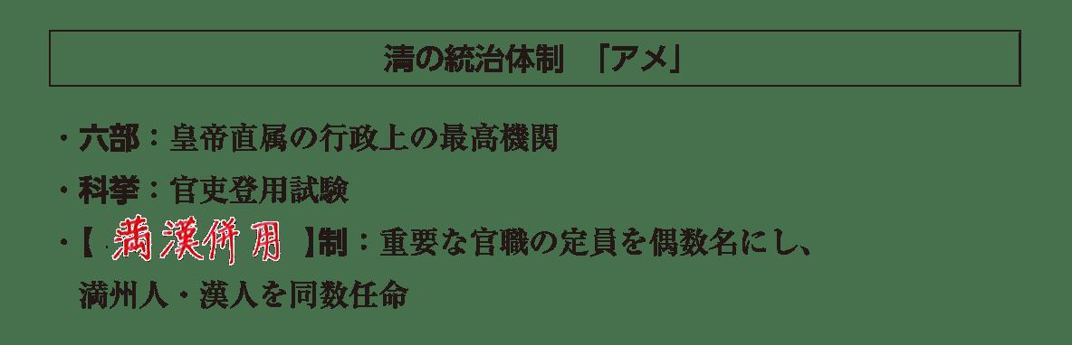 ポ2前半/清の統治体制「アメ」の項目/答えアリ