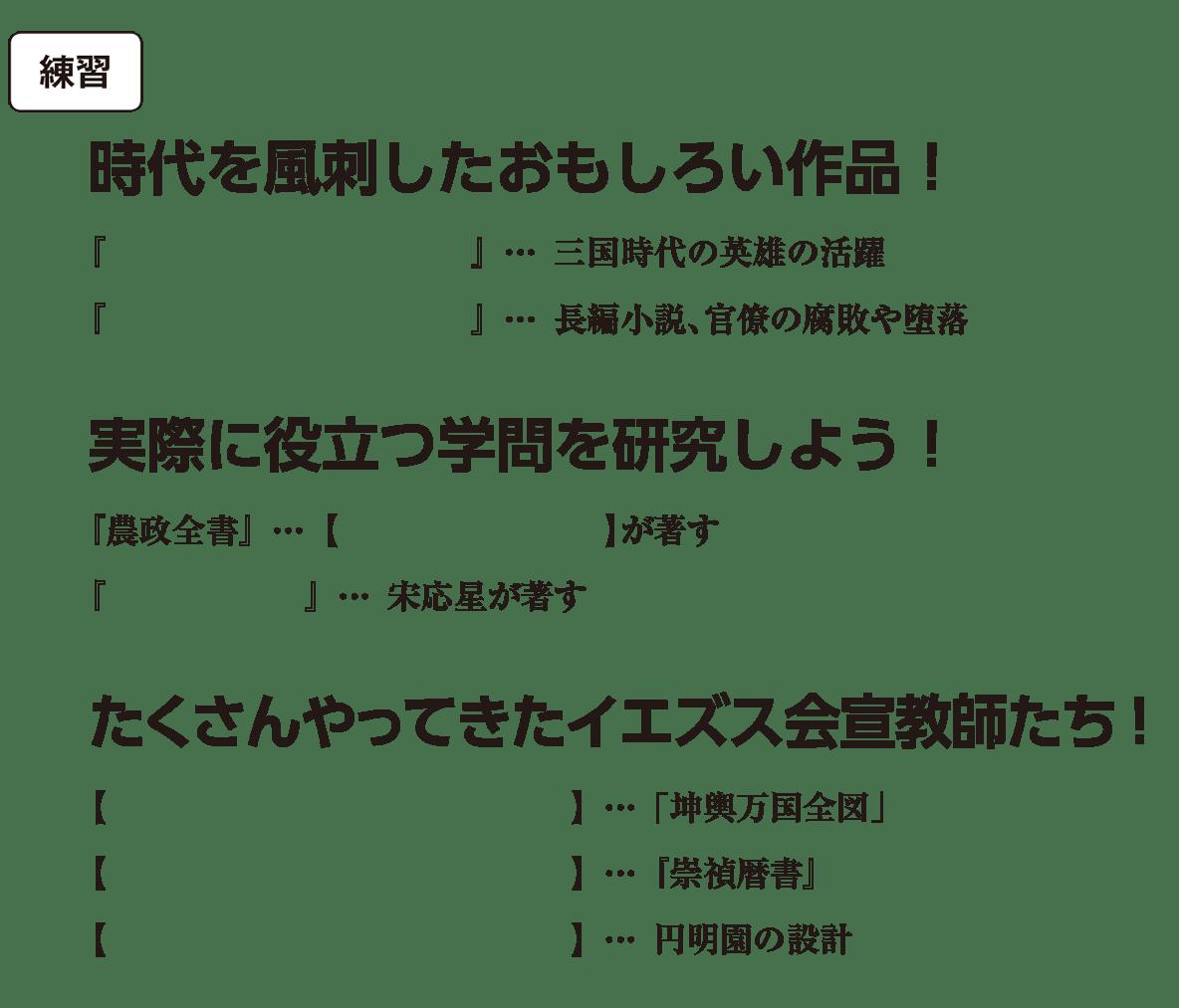 高校世界史 明・清の時代7 練習 括弧空欄