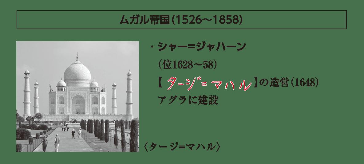 ポ2前半/ムガル帝国の小見出し+写真+シャー=ジャハーンの説明4行