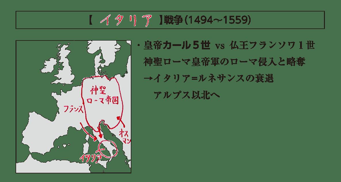 「イタリア戦争」の見出し+地図+テキスト