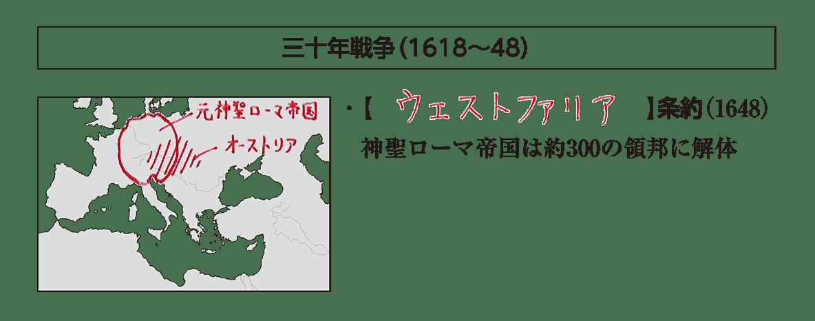 「三十年戦争」の見出し+地図+テキスト2行