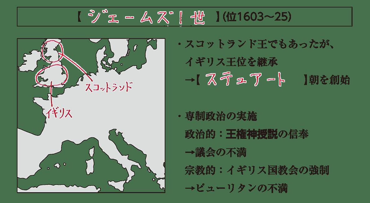 「ジェームズ1世」の見出し+地図+テキスト
