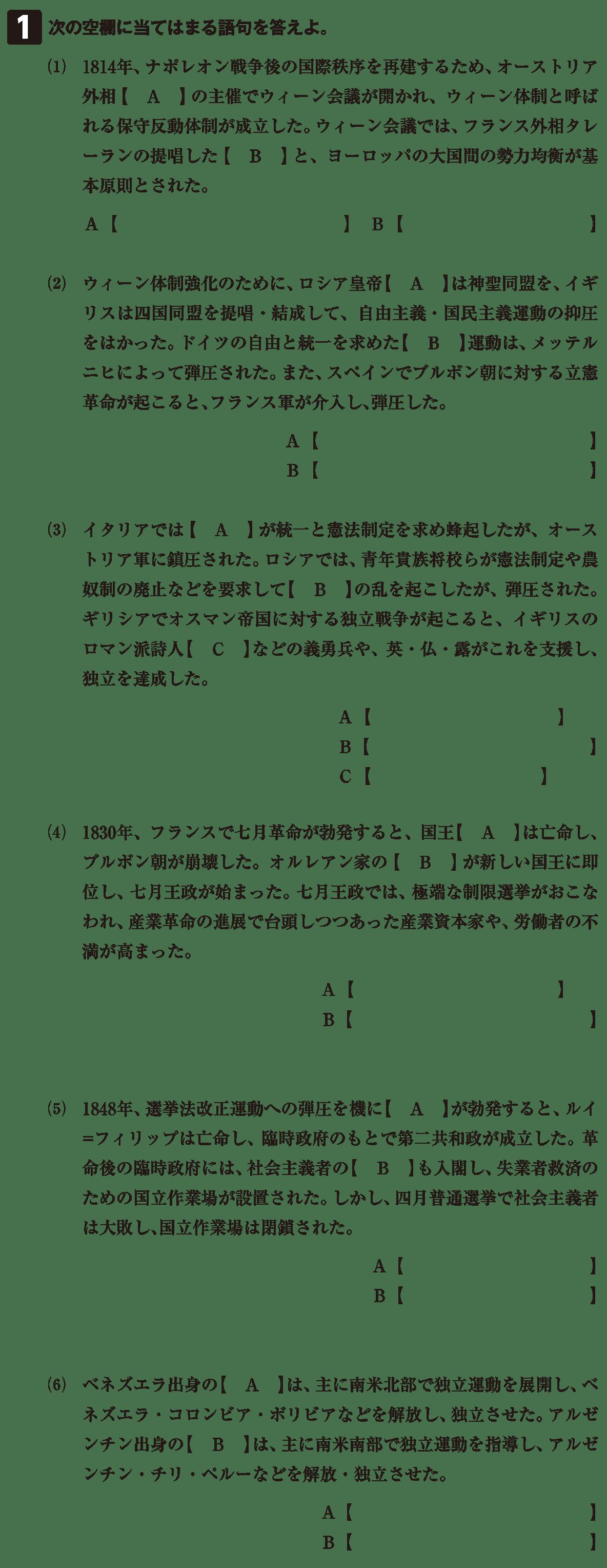高校世界史 ウィーン体制の成立と崩壊5 確認テスト(前半)