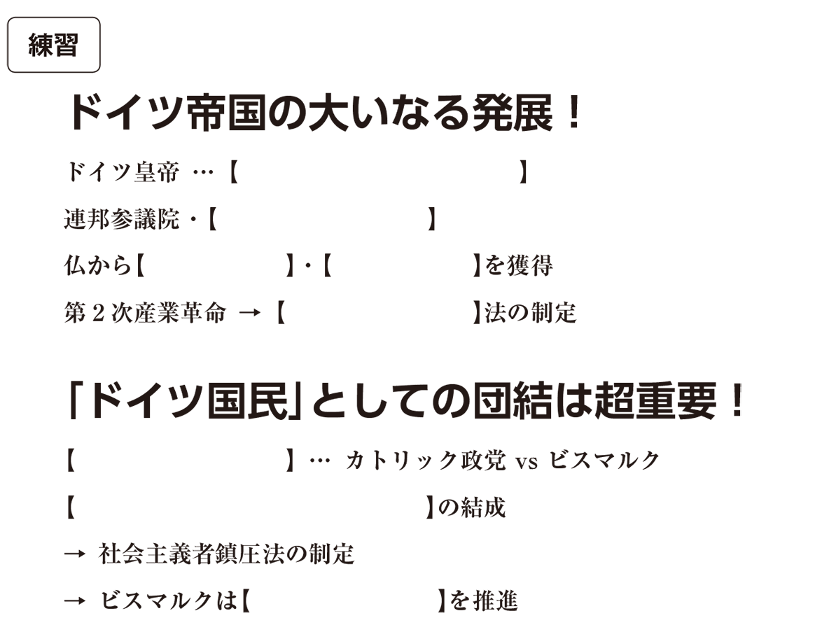 高校世界史 19世紀の欧米諸国(1)英・仏・伊・独6 練習 括弧空欄