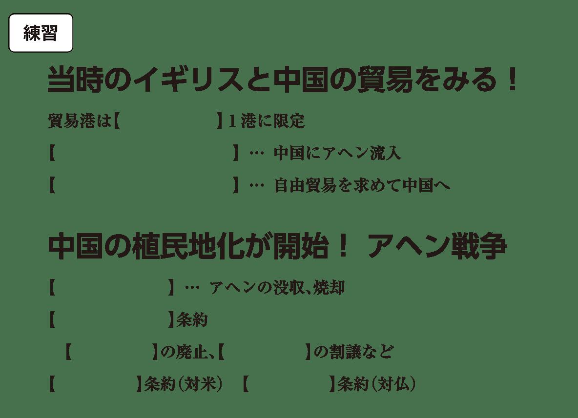 高校世界史 中国と朝鮮の植民地化1 練習 括弧空欄