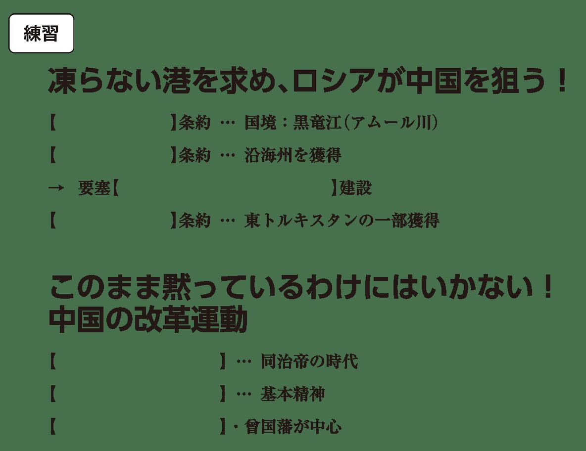 高校世界史 中国と朝鮮の植民地化3 練習 括弧空欄