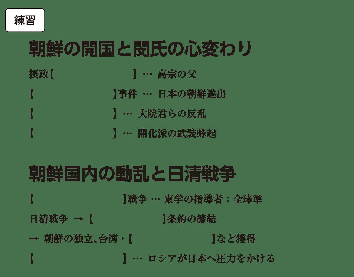 高校世界史 中国と朝鮮の植民地化4 練習 括弧空欄