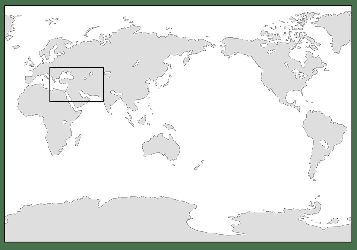 高校世界史 古代オリエント0 世界地図の一部を枠線で囲う/ppt参照