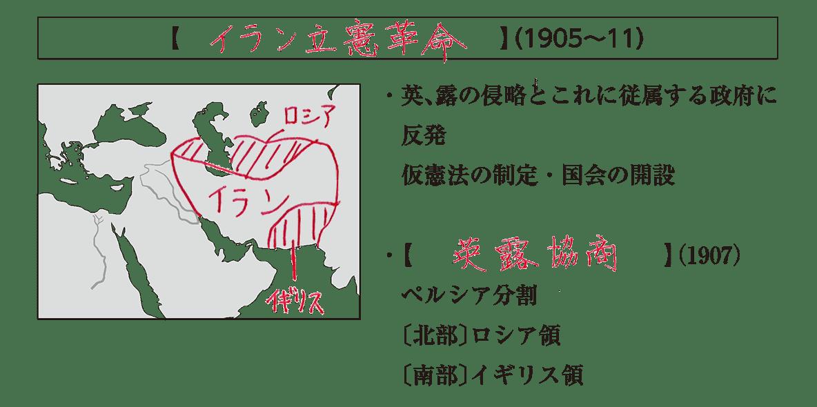 「イラン立憲革命」見出し+地図+テキスト