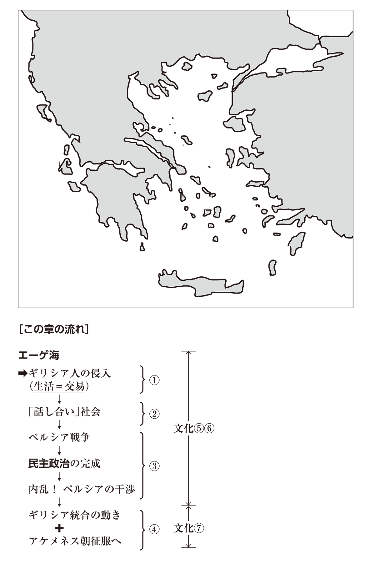 高校世界史 ギリシア世界0 右ページの地図と下部のテキスト