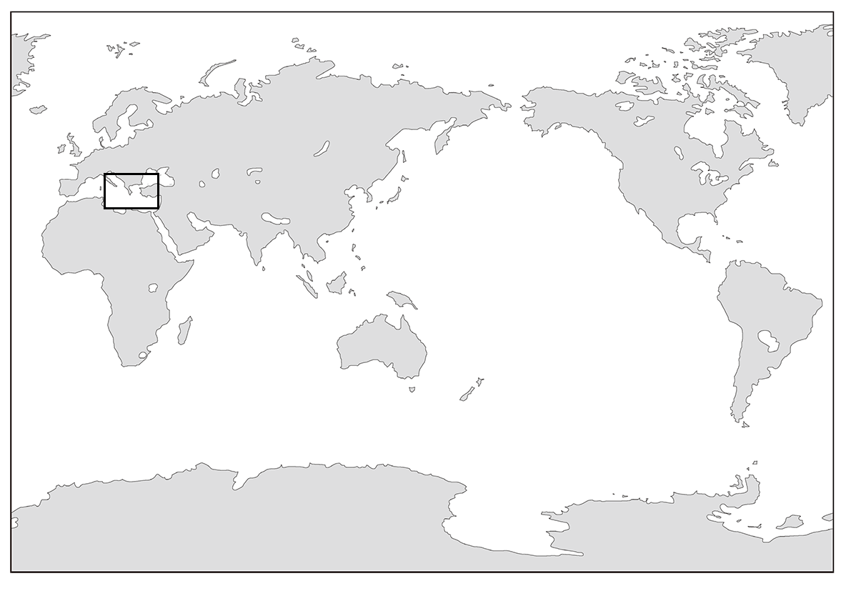 高校世界史 ギリシア世界0 世界地図の一部を枠線で囲う/ppt参照
