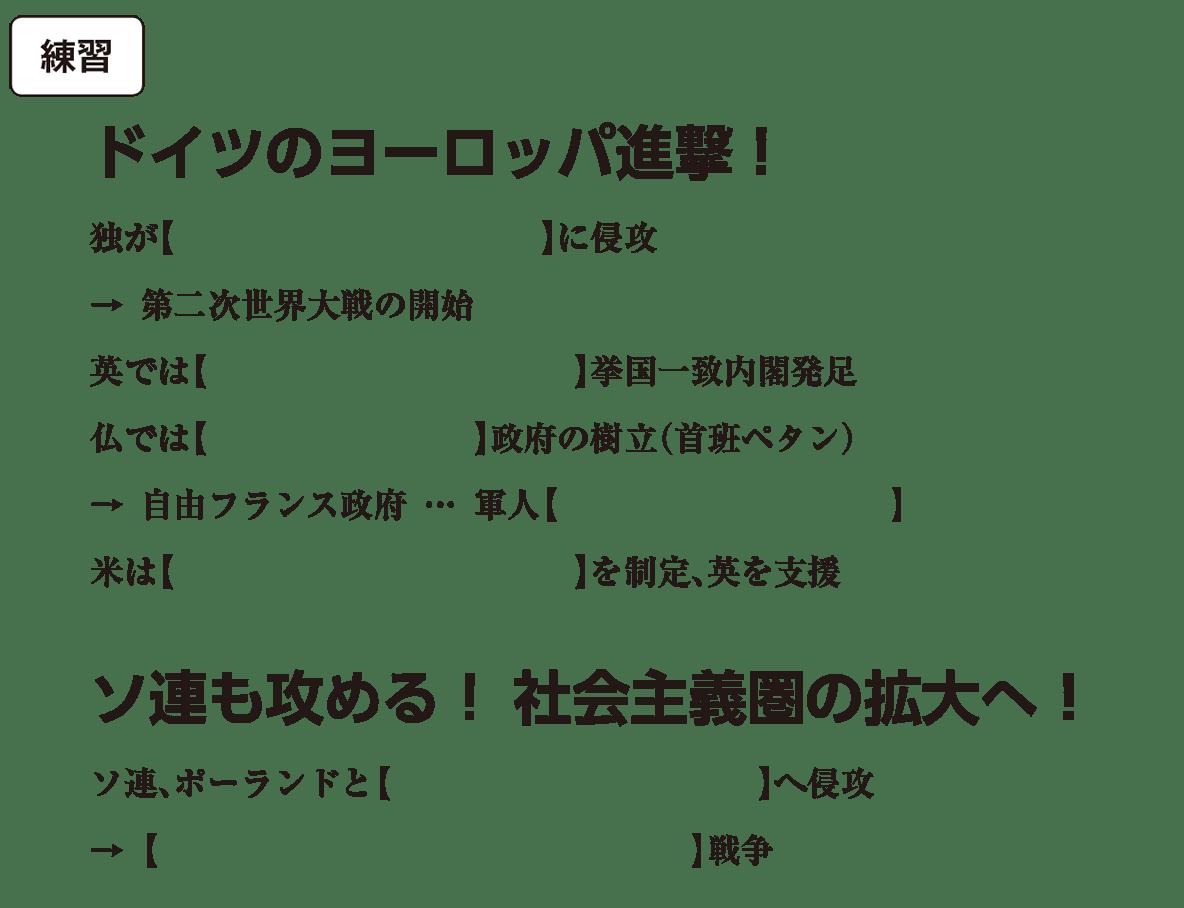 第二次世界大戦と戦後秩序の形成1 練習 括弧空欄