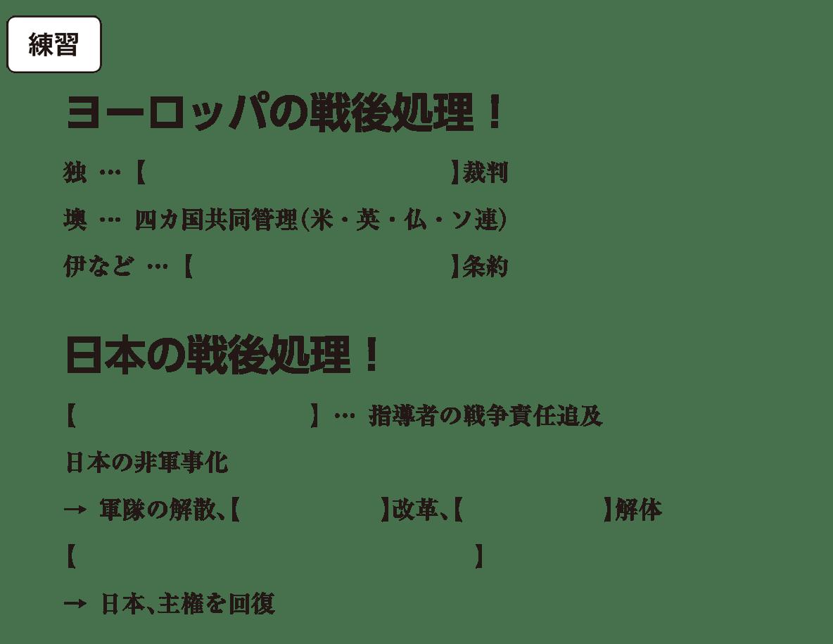 第二次世界大戦と戦後秩序の形成5 練習 括弧空欄