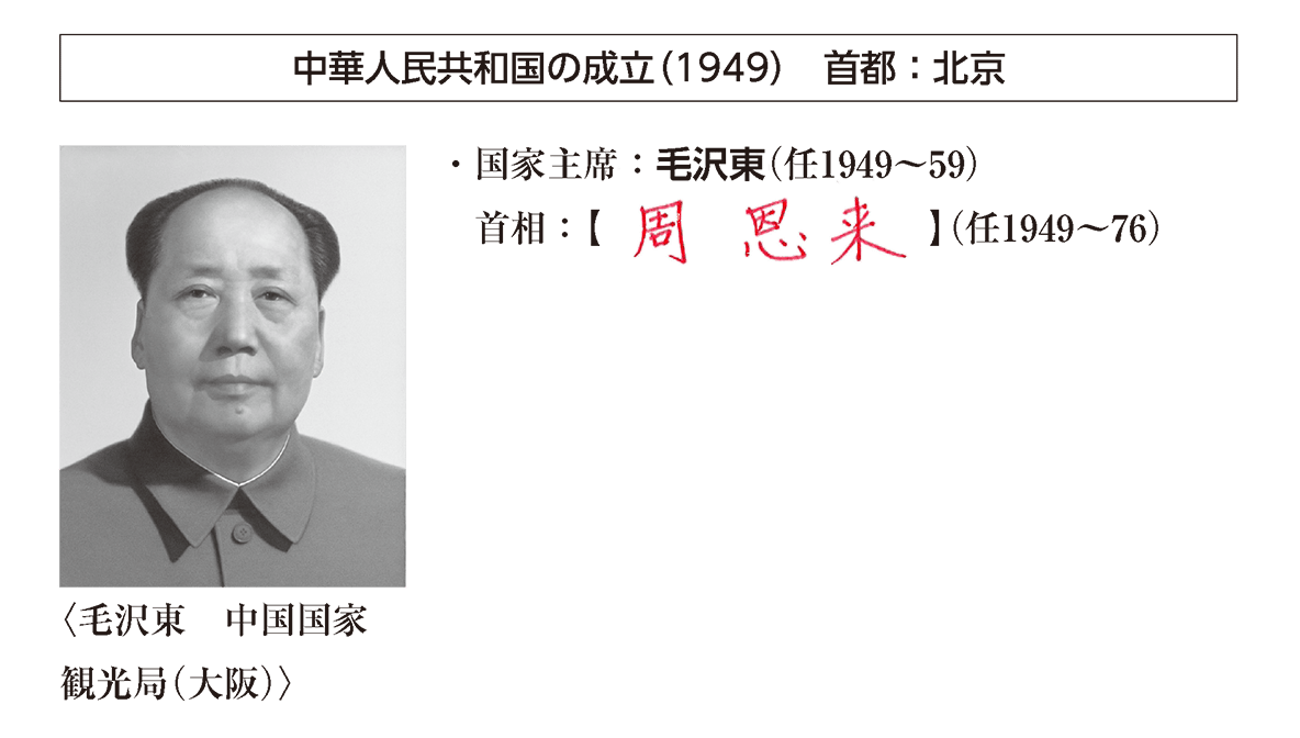 「中華人民共和国の~」見出し+写真+テキスト2行/~(任1949~76)