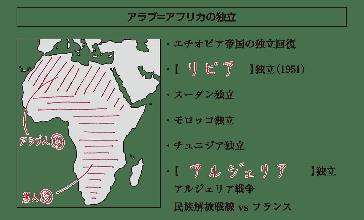 「アラブ=アフリカの独立」見出し+地図+テキスト
