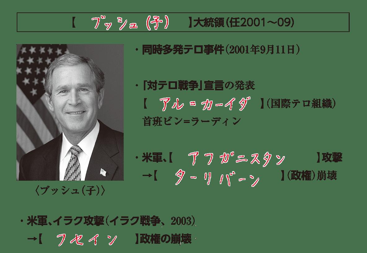 「ブッシュ(子)」見出し+写真+テキスト6行/~(政権)崩壊