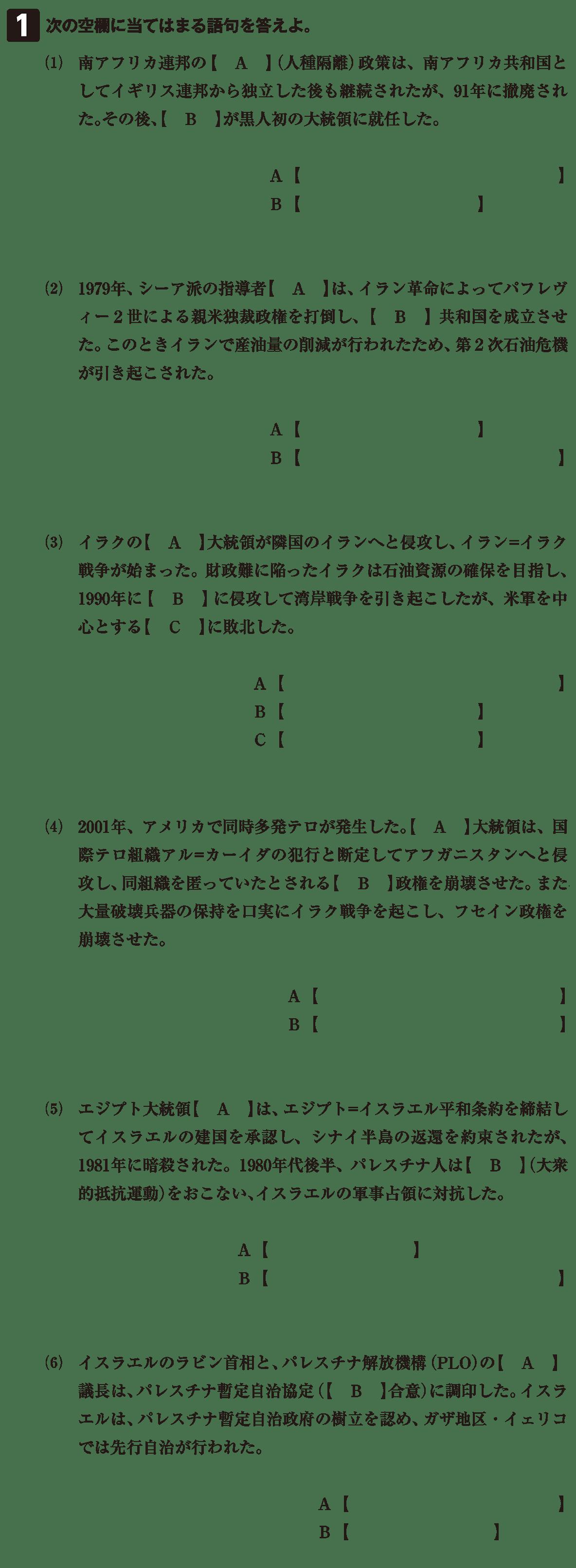現代文明と各地の紛争5 確認テスト(前半)