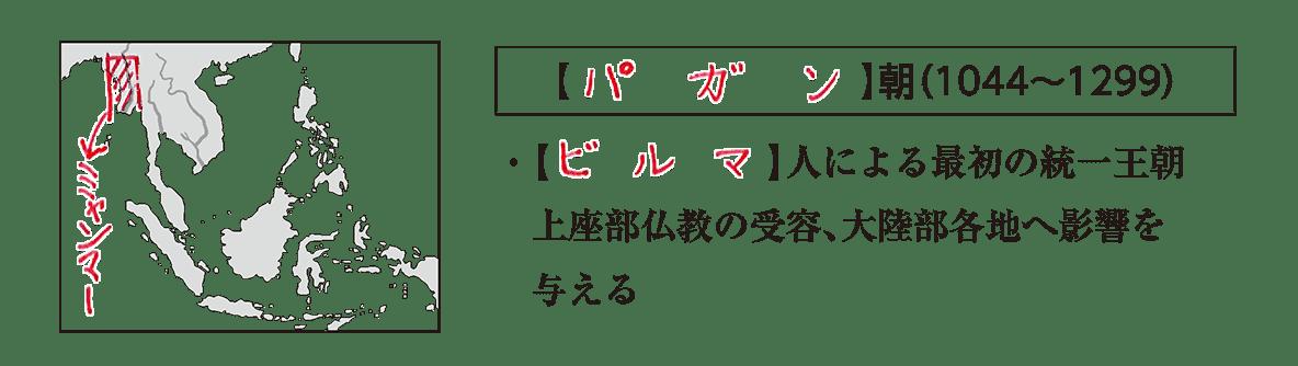 高校世界史 東南アジア前近代史1 ポイント1/パガン朝の項目/答えアリ