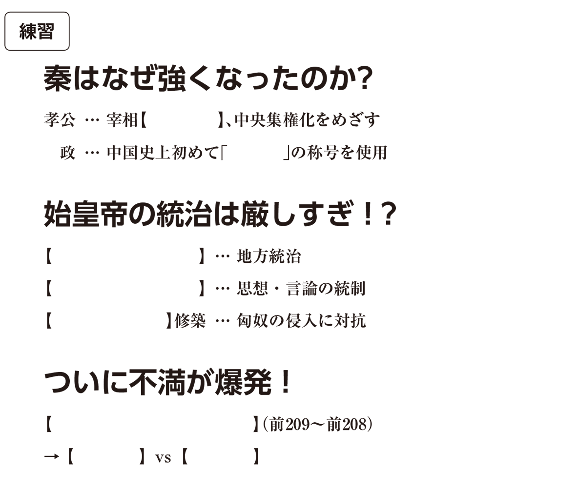 高校世界史 中国の古典文明3 練習 括弧空欄