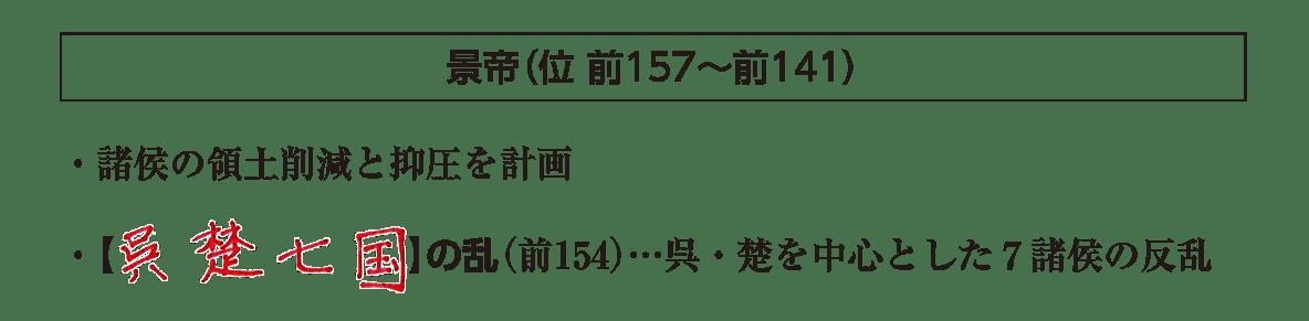 高校世界史 中国の古典文明4 ポイント1後半/景帝の項目(地図+右テキスト)答えアリ