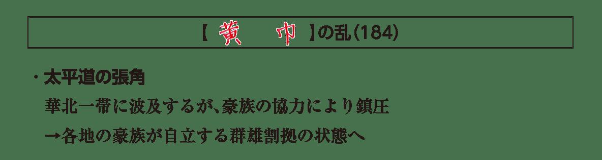 高校世界史 中国の古典文明5 ポイント2/黄巾の乱の項目