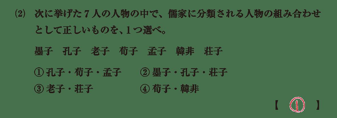 高校世界史 中国の古典文明7 問題2(2)答えアリ