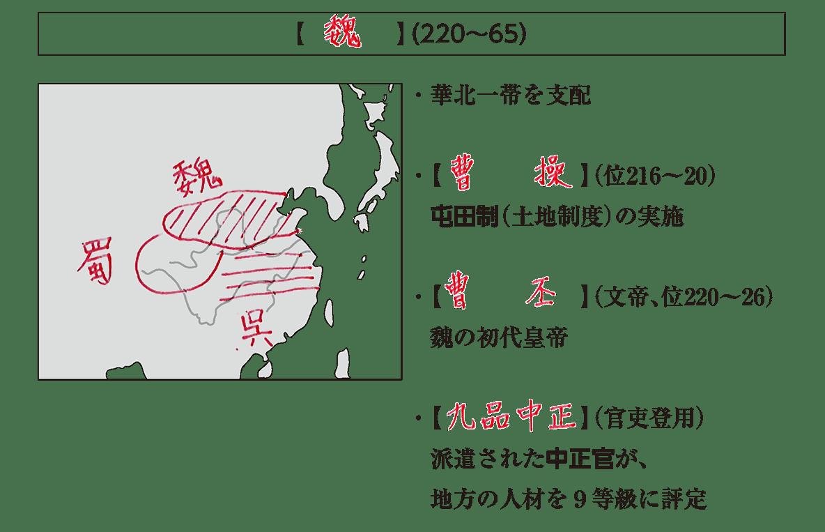 高校世界史 中国の分裂・混乱期1 ポイント1/魏の項目/答えアリ
