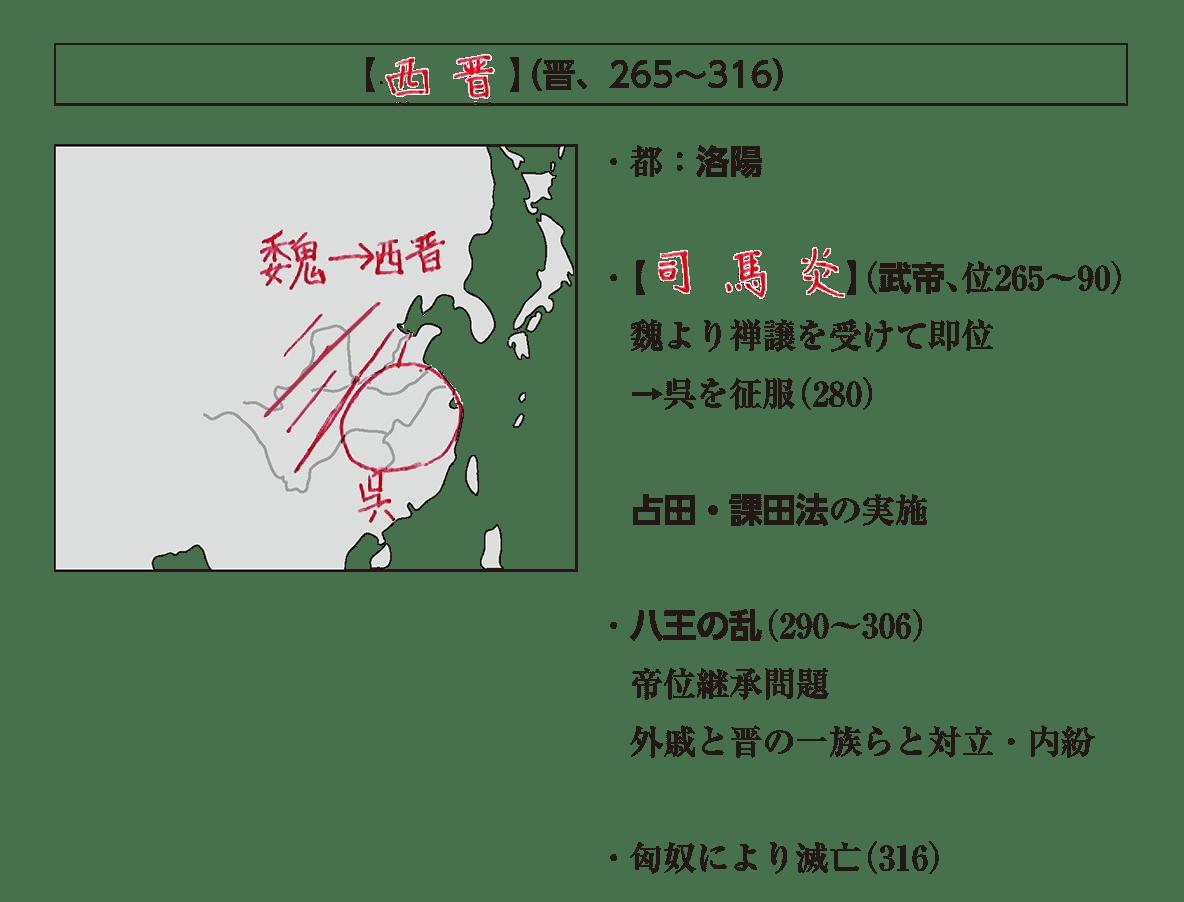 高校世界史 中国の分裂・混乱期1 ポ2/西晋の項目/地図+右側テキスト