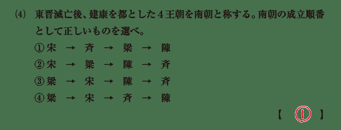 高校世界史 中国の分裂・混乱期5 問題2(4)答えアリ
