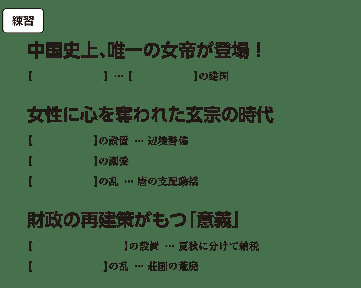 高校世界史 東アジア文明圏の形成(隋・唐)3 練習 括弧空欄