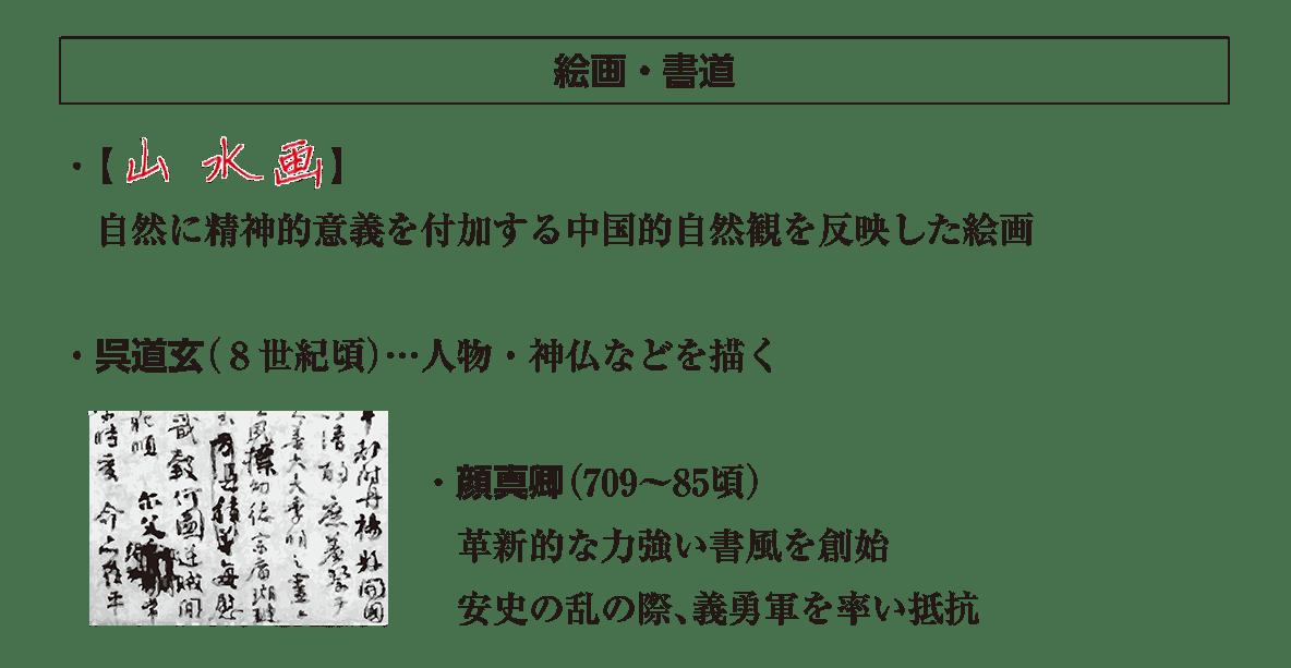高校世界史 東アジア文明圏の形成5 ポ3 絵画・書道の項目/答えアリ